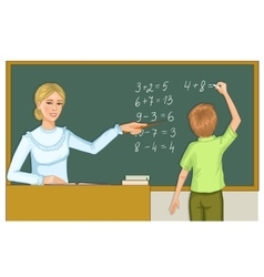 Teacher and schoolboy at blackboard eps10 vector image vector image
