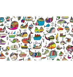 Whales and ships seamless pattern for your design vector image
