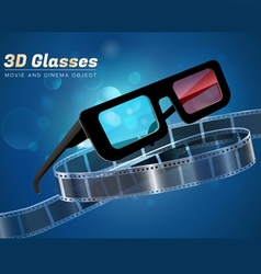 3d glass movie cinema object vector image