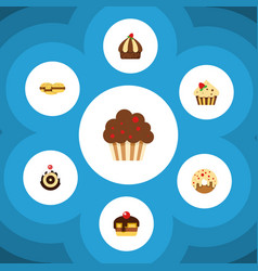 flat cake set of cupcake muffin doughnut and vector image vector image