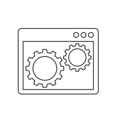 gears inside the browser window line icon vector image vector image