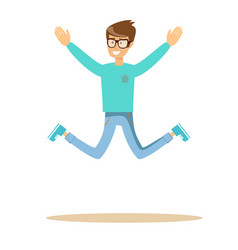 handsome man jumping and smiling vector image