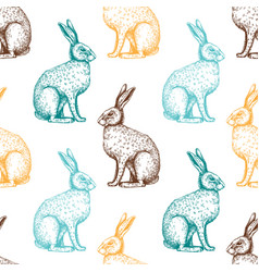 hare pattern - easter background vector image vector image