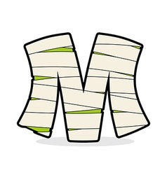 Letter M Mummy Typography icon in bandages vector image vector image