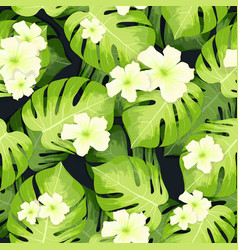 monstera palm leaves pattern and hibiscus flowers vector image vector image