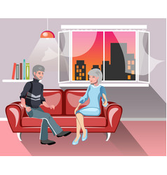 old happy family on sofa at home vector image
