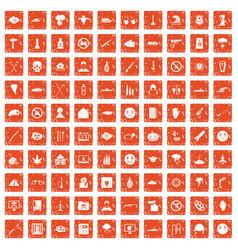 100 oppression icons set grunge orange vector image vector image