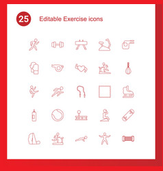 25 exercise icons vector