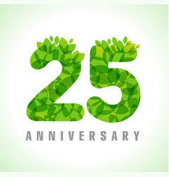 25 leaves anniversary numbers vector image
