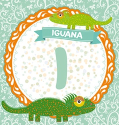 ABC animals I is iguana Childrens english alphabet vector image