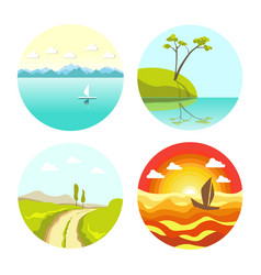 Abstract picturesque seascapes and landscape in vector