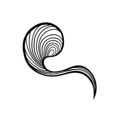 Abstract waves black and white line art decoration vector