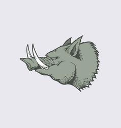 angry head wild hog mascot cartoon character vector image