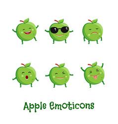 Apple smiles cute cartoon emoticons emoji icons vector
