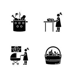 Babysitter service black glyph icons set on white vector