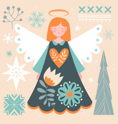 Beautiful abstract postcard with redhead angel vector