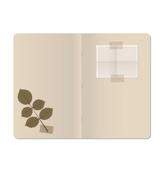 Blank stapled notebook with folded blank photo vector