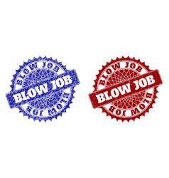Blow job blue and red round stamp seals with vector