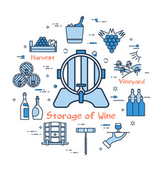 blue round concept - storage of wine vector image