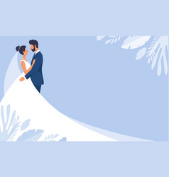 bride and groom in wedding dresses wedding banner vector image