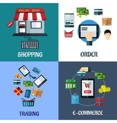 Business and shopping flat concept vector