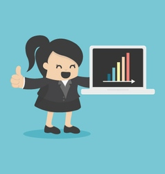 business woman showing laptop computer in office s vector image
