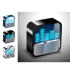 button icons 3D equalizer radio vector image