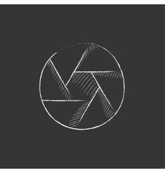 Camera shutter Drawn in chalk icon vector image