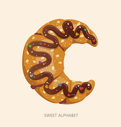 cartoon candy alphabet letter c vector image