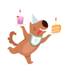 Cartoon dog with two pieces cake vector