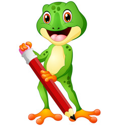 cartoon frog holding a pencil vector image