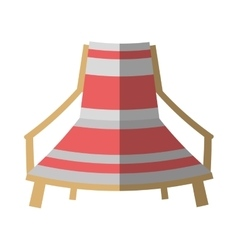 Cartoon pink and white chair beach break shadow vector