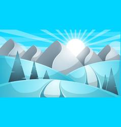 Cartoon winter landscape cloud mountain road vector