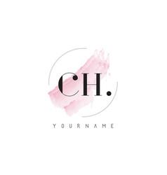 Ch watercolor letter logo design with circular vector