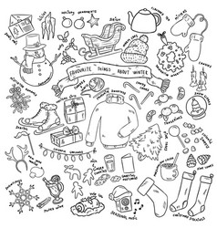 Christmas doodles objects winter favourites vector