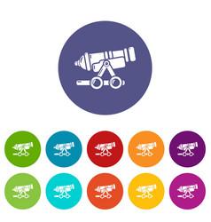 Coastal cannon icons set color vector