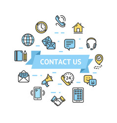 Contact us icon round design template thin line vector