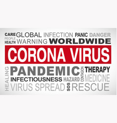 Corona virus outbreak related tags word cloud vector