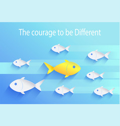courage to be different risk taker fish icon vector image