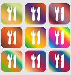Crossed fork over knife icon sign Nine buttons vector