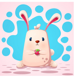 cute funny rabbit with strawberry vector image