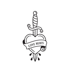 dagger and heart tattoo with wording love hurts vector image