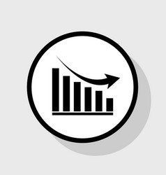 declining graph sign flat black icon in vector image