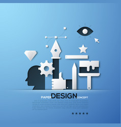 design paper concept white silhouettes of vector image