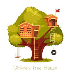 Different playhouses for children on tree vector
