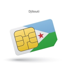 Djibouti mobile phone sim card with flag vector