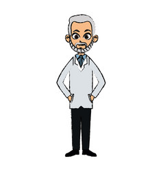 Drawing portrait doctor man character standing vector