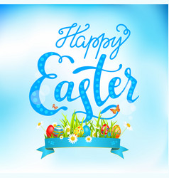Easter eggs on a grass and lettering vector