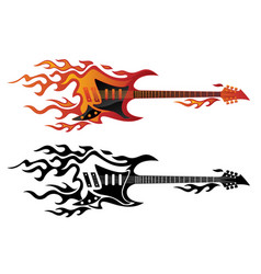 electric guitar on fire in full color and black vector image