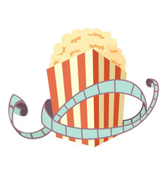 Film and popcorn icon cartoon style vector